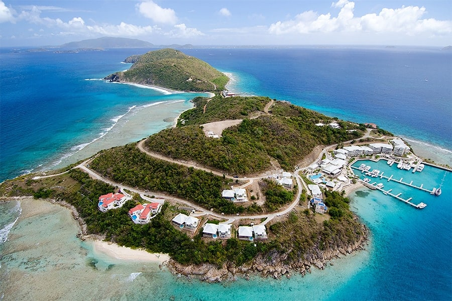 Scrub Island Resort Aerial Before Retouching