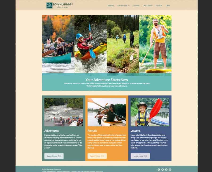 Outdoor Adventure Demo Website, Rentals, Lessons, Raft, Kayak, Hike, Canoe, Paddleboard