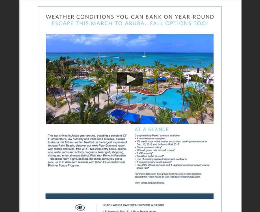 Meetings Sales Flyer and Landing Web Page for Hilton Aruba