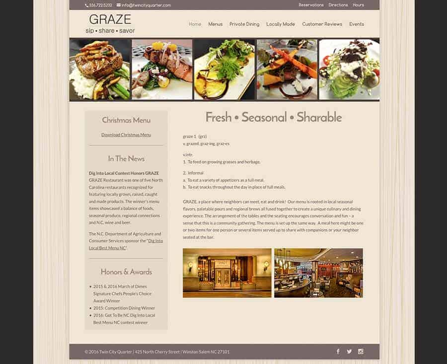 GRAZE Restaurant Winston-Salem, NC Website