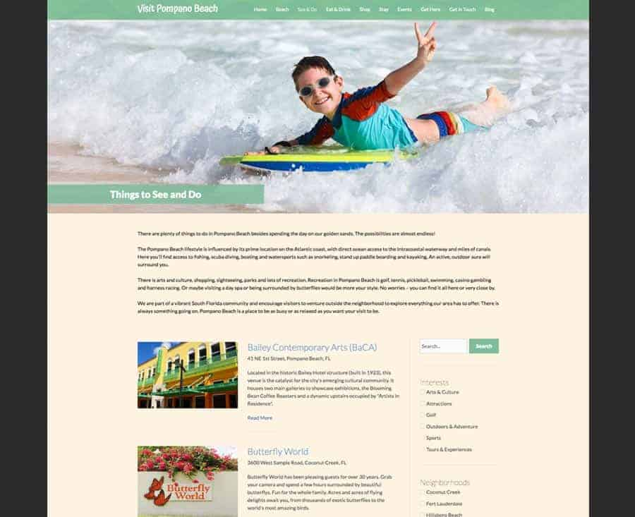 Photo of the Visit Pompano Beach Things to Do Webpage